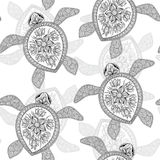 Seamless pattern with turtles. Stock Image
