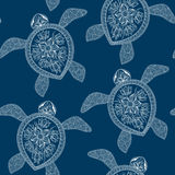 Seamless pattern with turtles.  Indian mehndi style Royalty Free Stock Photo