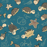 Seamless pattern with turtles Stock Images