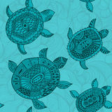 Seamless pattern with turtles. Seamless pattern can be used for Stock Photo
