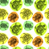 Seamless pattern with turtles. Seamless pattern can be used for Stock Images