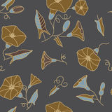 Seamless pattern with the twine flowers on a gray Stock Images