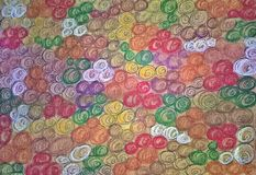 Seamless pattern with twisted curved colorful abstract ripple lines background. Drawn by hand. royalty free illustration