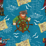 Seamless pattern with two captains and pirate map Royalty Free Stock Photo