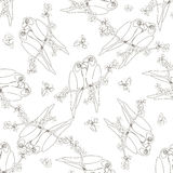 Seamless pattern with two contoured parrot Stock Photos