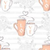 Seamless pattern with two cups and heart shaped steam. Romantic floral background. Vector illustration Royalty Free Stock Photography