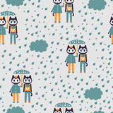 Seamless pattern with two cute kittens under umbrella Royalty Free Stock Photo