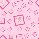 A seamless pattern of two pink hearts in a square, with golden stripes. On a pink background. Also in vector. Also fun as fabric or wallpaper, and for Stock Photo