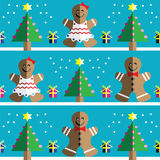 Seamless pattern with two shades gingerbread man and gingerbread woman, snow, geometrical Christmas trees with lights and babbles. Christmas gifts in two shades Stock Photo