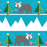 Seamless pattern with two shades polar bears, snow, geometrical Christmas trees with lights and baubles Christmas gifts. In two shades, and mountains on light Royalty Free Stock Image