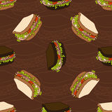 Seamless pattern of two types sandwiches Royalty Free Stock Image