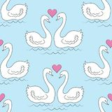 Seamless pattern. Two white swans. The birds in love swim in the water. The sun in the shape of the heart. Romantic love. For gift royalty free illustration