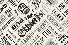 Seamless pattern with types of beer and hand drawn lettering vector illustration