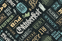 Seamless pattern with types of beer and hand drawn lettering royalty free illustration