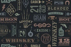 Seamless pattern with types of whiskey vector illustration