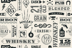 Seamless pattern with types of whiskey royalty free illustration