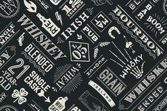Seamless pattern with types of whiskey stock illustration