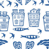 Seamless pattern with typical portuguese houses sardines flowers and swallows Royalty Free Stock Image