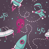 Seamless pattern for ufo Stock Photos