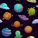Seamless pattern with ufos and fantastic planets Stock Images