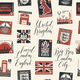 Seamless pattern on UK theme with postage stamps. Vector seamless pattern with postage stamps and handwritten inscriptions on UK and London theme in retro style Royalty Free Stock Photography