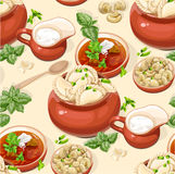 Seamless pattern of Ukrainian traditional food Stock Photo