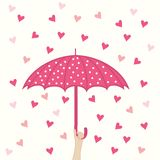 Seamless pattern with umbrella and hearts rain Stock Photo