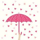 Seamless pattern with umbrella and hearts rain Stock Photo