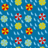 Seamless pattern - umbrellas and drops of a rain. Stock Photography