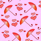 Seamless pattern with umbrellas and hearts Stock Photography