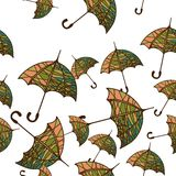 Seamless pattern with umbrellas. Vector illustration of a seamless pattern with umbrellas Stock Photos