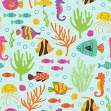 Seamless pattern under the sea with marine animals. Vector illustration, eps Stock Images