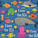 Seamless pattern under the sea Stock Photos
