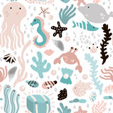 Seamless pattern with undersea elements and fish,octopus,whale,seaweeds,crab. Childish texture for fabric, textile. Vector backgro Stock Photography