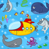 Seamless pattern undersea world. Vector illustration, eps Royalty Free Stock Photography