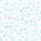Seamless pattern with underwater animals Stock Images