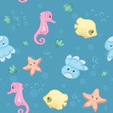 Seamless pattern of underwater creatures. No gradient - Eps8 Royalty Free Stock Images