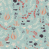 Seamless pattern with underwater ocean animals, cute fish and plants. Colorful vector illustration Stock Photos