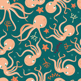 Seamless pattern with underwater ocean animals, cute octopus and starfish. Colorful vector illustration Royalty Free Stock Image