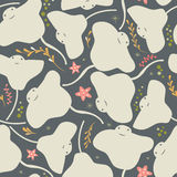 Seamless pattern with underwater ocean animals, cute stingray and starfish Royalty Free Stock Images