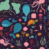 Seamless pattern with underwater ocean animals, whale, octopus, stingray, jellysfish Stock Photo