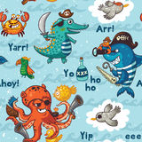 Seamless pattern with underwater pirates, crocodile, octopus, shark, crab Royalty Free Stock Image