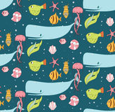 Seamless pattern with underwater scene, fish, whale, jelly fish Stock Photography
