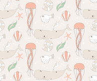 Seamless pattern with underwater scene, fish, whale, jelly fish Royalty Free Stock Images