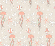 Seamless pattern with underwater scene Stock Photography
