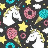 Seamless pattern with unicorn on black background. Vector character Stock Images