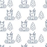 Seamless pattern with unicorns and Christmas tree. Christmas and New Year 2019 background. Design for wrapping, fabric, print Vector Illustration