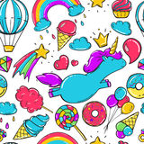 Seamless pattern with unicorns, donuts rainbow, icecream and other elements. Stock Photo