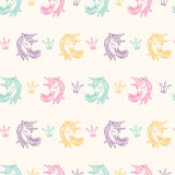 Seamless Pattern with Unicorns, Fantasy, Fairytale Stock Images