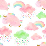Seamless pattern with unicorns Stock Photo